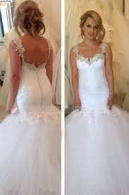 trumpet wedding dresses tulle spaghetti straps court ivory sleeveless trumpet