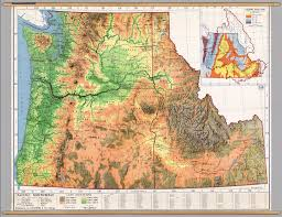 Topographical Map Of United States by Northwest United States Physical David Rumsey Historical Map