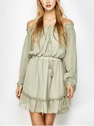 off the shoulder chiffon ruffle mini dress light green chiffon