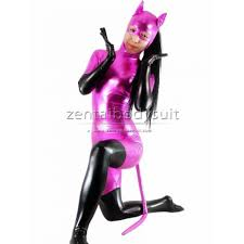 and black shiny metallic catwoman costume