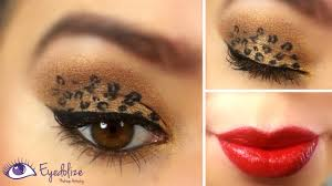 cheetah face makeup for halloween leopard eyeshadow u0026 red lips tutorial by eyedolize makeup youtube