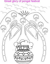 pongal scenery coloring printable page for kids