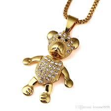 golden pendant necklace images Wholesale high quality 18k gold plated mens hip hop lovely bears jpg