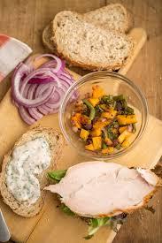 leftover thanksgiving turkey sandwich with sweet chili yogurt