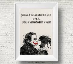 Harley Home Decor by Joker And Harley Quinn Inspired Quote 1 Watercolor Painting