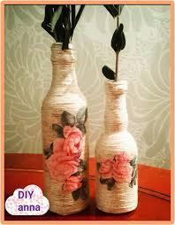decoupage yarn bottle decorations diy craft ideas tutorial uradi