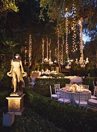 Fairy Lights Outdoor by Hanging Fairy Lights U0026 Chandeliers Sparkle Whimsical Wedding