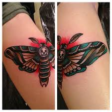 traditional ink skull butterfly