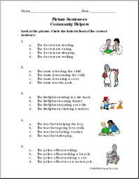 picture sentences community helpers primary worksheet i
