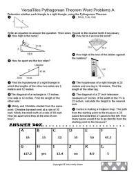 pythagorean theorem word problems worksheets worksheets