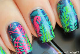 nail art things in the water layered stamping polished polyglot