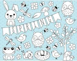 spring owls clipart etsy