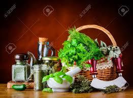 les herbes de cuisine frais verts herbes de cuisine dans le panier et les herbes de