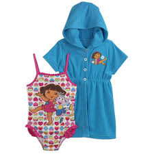 Toddler Terry Cloth Robe Dora The Explorer Toddler U0027s Hearts Swimsuit With Terry Cloth