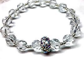 swarovski silver crystal bracelet images Bridal clear crystal bracelet with swarovski crystal ab rondelle jpg