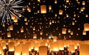 fireworks lantern photo thailand fireworks lantern floating lanterns loi krathong