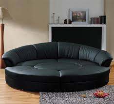 Top Grain Leather Sectional Sofa Modern Circle Sectional Sofa Set With Table Black Tos Lf 6722 Bl