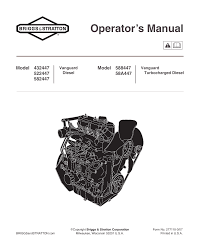 briggs u0026 stratton vanguard 582447 user manual 20 pages also