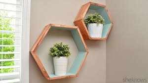 make your own storage with geometric wall shelves