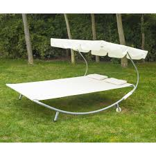 outsunny 79 u201d x 61 u201d canopied double sun lounger hammock bed with