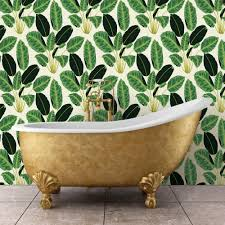Removable Wallpaper Tiles by Tempaper Hojas Cubanas Rich Emerald Self Adhesive Removable