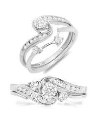 interlocked wedding rings 0 50 carat ctw 10k gold diamond swirl bridal