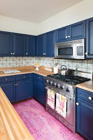 kitchen contemporary backsplash cobalt blue glass tile peel and