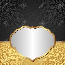 gold black background with ornaments and silver frame royalty free