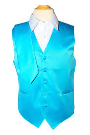 Light Blue Vest Satin Classic Fit 3 Pieces 23 Colors Available Turquoise By