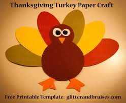 thanksgiving turkey paper craft pdf pattern glitter tierra