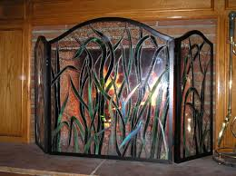 brass fireplace screen with glass doors stained glass fireplace screen stained glass pinterest