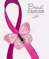 breast cancer design with butterfly and ribbon stock vector