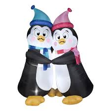 Christmas Outdoor Decorations Lowes by Shop Gemmy 6 Ft Internal Light Penguins Christmas Inflatable At