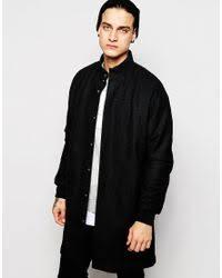 Wool Bomber Jacket Mens Asos Longline Wool Bomber Jacket In Black For Men Lyst