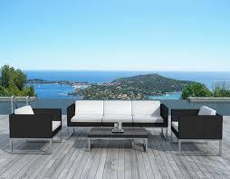 canapé de jardin design de jardin design 6 éléments en résine coussins écrus