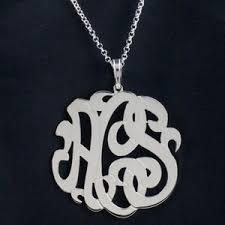 2 Inch Monogram Necklace Silver Monogram Necklaces Purple Mermaid Designs Online Store