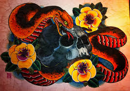skull and snake and roses 1 by jerrrroen on deviantart