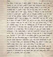 letter from a teenage son who was as a small child