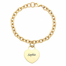 customized gold bracelets personalized engraved name heart bracelet in 14kt gold stainless