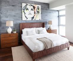 brown leather bed bedroom contemporary with area rug bedroom