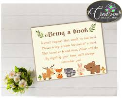 baby shower bring a book instead of a card poem woodland baby shower bring a book insert cards printable with