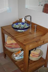 Vanity Stools Benches Bathroom Cedar Potting Bench Turned Vanity With A Talavera Vessel