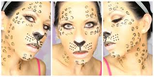 cheetah face makeup for halloween glitter leopard makeup easy halloween tutorial youtube