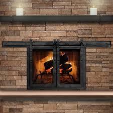 Ideas Fireplace Doors Paterson Sliding Masonry Fireplace Door Interior Barn Doors