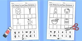 cvc words cut and paste worksheets u cvc worksheets cvc