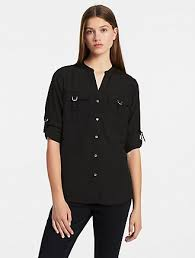 black blouse with white collar s tops blouses on sale calvin klein