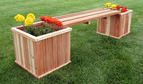 humboldt redwood 18 u201d square planter box u0026 bench combo kit house