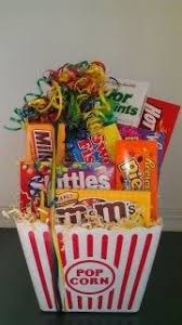Movie Basket Ideas Homemade Gift Ideas Movie Night Bouquet With Drinks Sweets