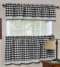 Checkered Kitchen Curtains Buffalo Check Curtains Tiers Valance Achim Kitchen