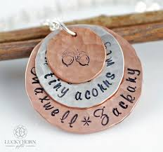 Mom Necklaces With Children S Names Hand Stamped Necklace Personalized Jewelry Personalized
